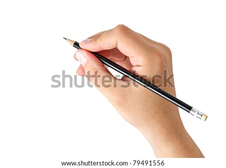 hand holding a pencil isolated on white background