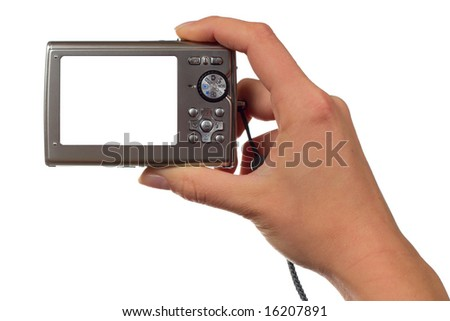 Hand holding a point and shoot camera