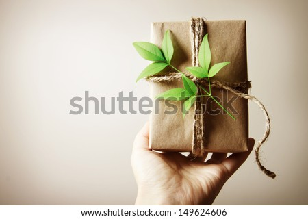 Hand holding a present box rustic style