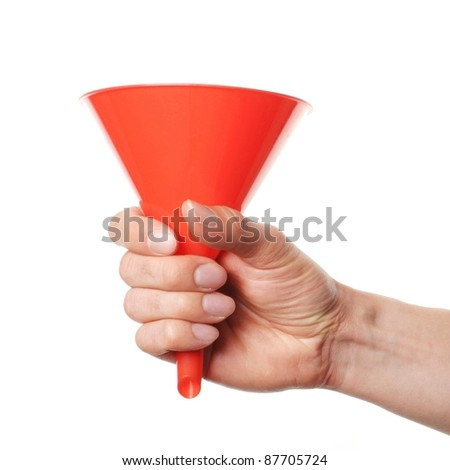 hand holding a red funnel on white background