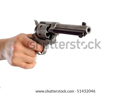 hand holding a revolver isolated on white