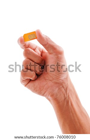 Hand Holding a SIM Subscriber Identity Module Card