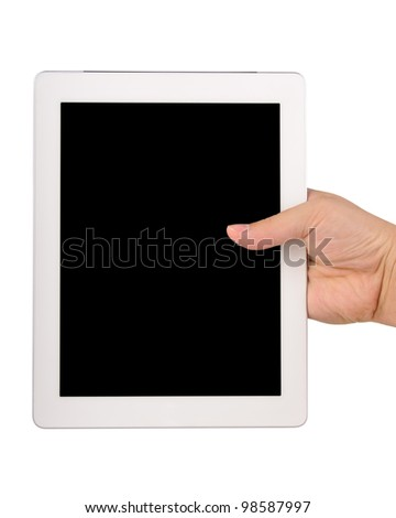 Hand holding a tablet computer with blank black screen Isolated on white
