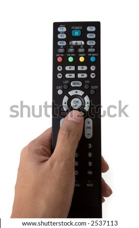 Hand holding a TV remote control on white background