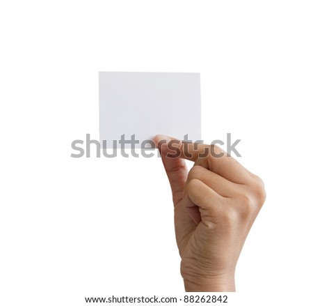 hand holding a white card.