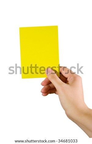 Hand holding a yellow card (isolated on white) - stock photo
