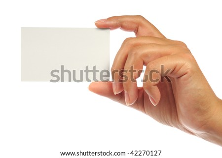 Hand holding an empty business card. Isolated on white.