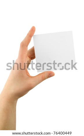 hand holding an empty paper isolated on white