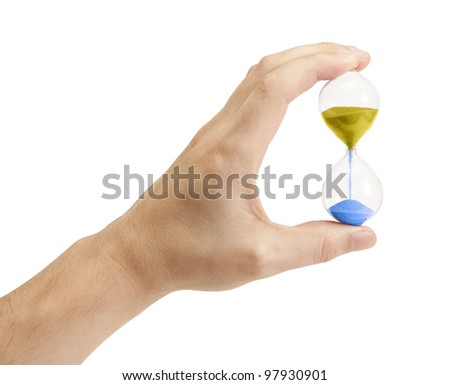 Hand holding an hourglass isolated on white background