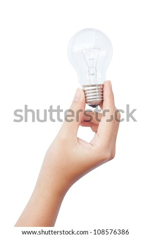 Hand holding an incandescent light bulb isolated on white background