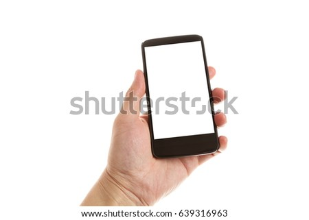 hand holding and showing smartphone with blank screen. Isolated on white background  #639316963