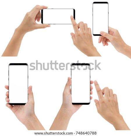 hand holding and touching phone mobile set isolated on white background #748640788