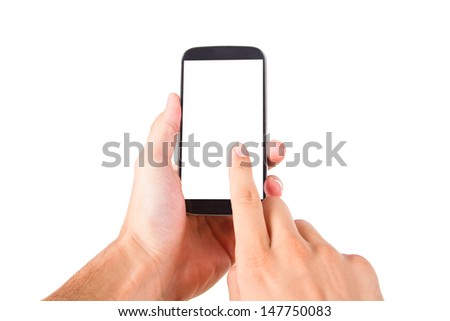 Hand holding and touching smart phone with blank, white screen, front view, isolated on white background.