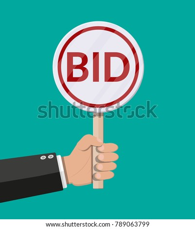 Hand holding auction paddle. Bid plate. Auction competition. illustration in flat style
