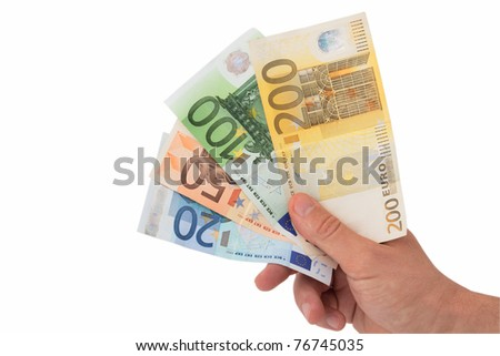 Hand holding bank notes