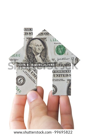 Hand holding banknote house icon
