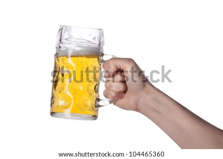 hand holding beer making a toast