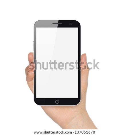 Hand holding big smart phone on white background