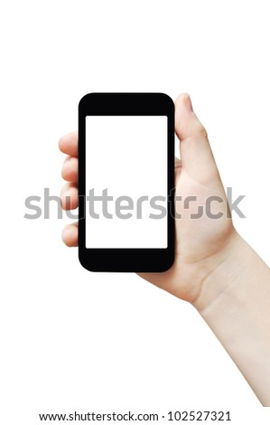 Hand holding big touch screen smart phone, isolated, clipping path