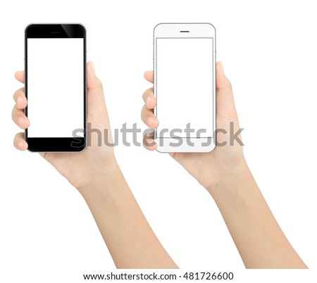 hand holding black and white phone isolated white clipping path inside #481726600