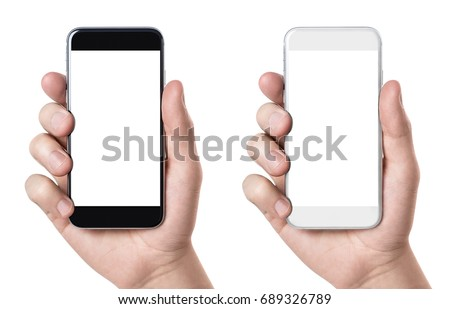 Hand holding black and white smartphones, isolated on white background #689326789