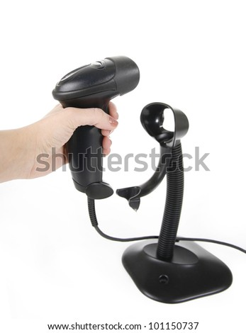 hand holding black barcode scanner isolated on white