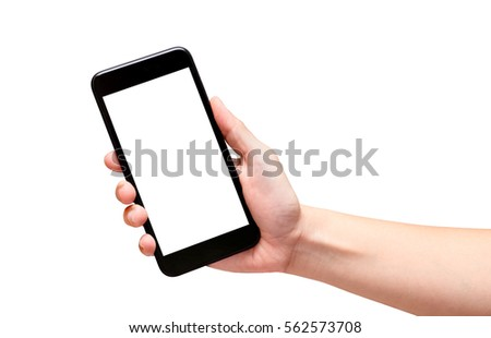 Hand holding black mobile phone with blank screen isolated on white background,Mock up for display of your content of replace with background #562573708