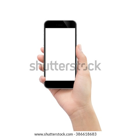 Shutterstock hand holding black phone isolated on white clipping path inside