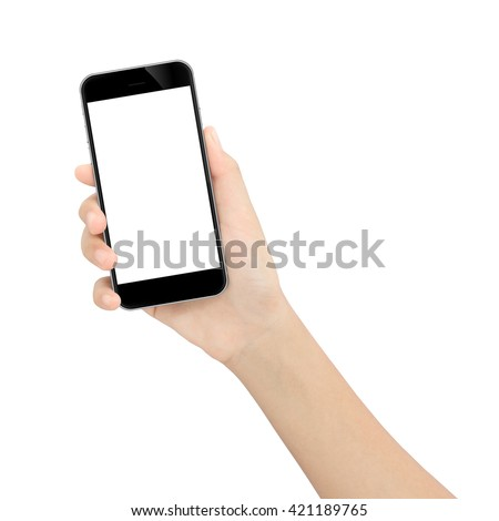 hand holding black phone isolated white clipping path inside #421189765