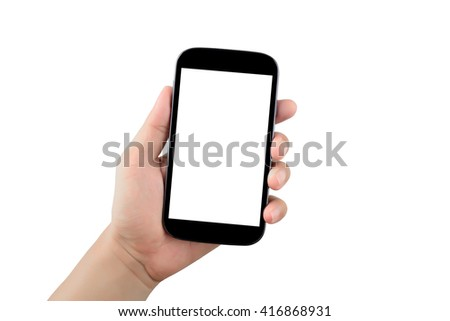 Hand holding black smartphone with blank screen isolated on white background #416868931