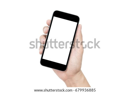 Hand holding black smartphone with blank screen isolated on white background. Clipping path embedded. #679936885
