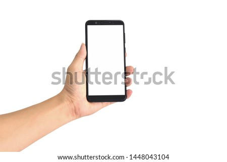 Hand holding black smartphone with blank screen, isolated on white background. with clipping path. #1448043104