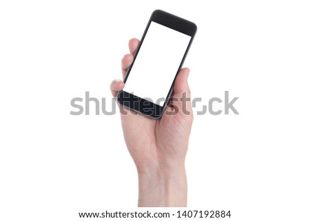 Hand holding black Smartphone with blank screen on white backgroun.  #1407192884
