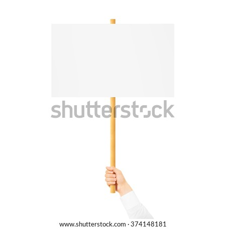 Hand holding blank banner mock up on wood stick isolated. Empty board plank holder in hands. Holding sign up. Clear signal stick. Man person with placard signal. Protesters people on picket strike.