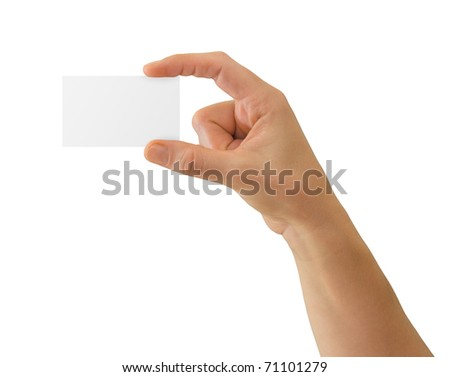 Hand holding blank business card with copy-space, isolated on white