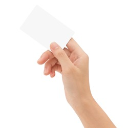 hand holding blank card isolated with clipping path