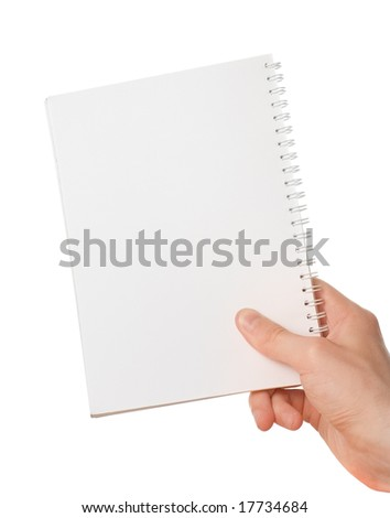 Hand holding blank notepad