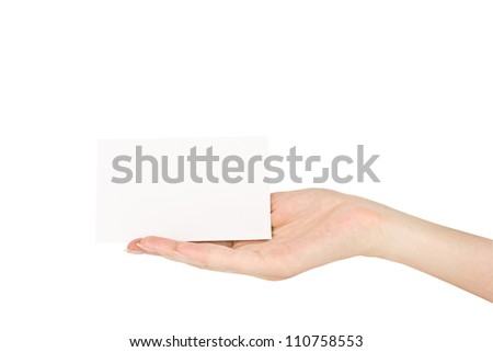 hand holding blank paper business card, closeup isolated on white background with clipping path