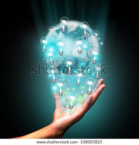 Hand holding bulb world #108005825