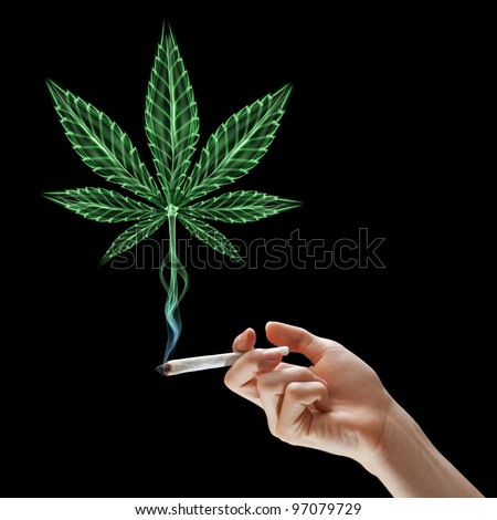 Hand holding burning joint and smoke in form of marijuana leaf