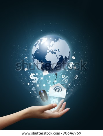 Hand holding business collection, Earth, Envelope, E-Mail, money, black mouse, internet - stock photo