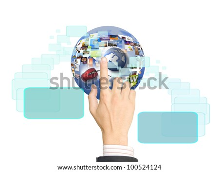 hand holding business collection  Internet.