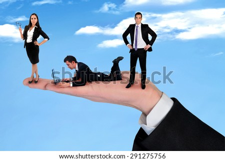 Hand holding business team outdoor