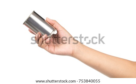 hand holding can aluminum isolated on white background