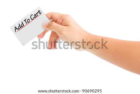 hand holding card with the word Add to cart. isolated on white background