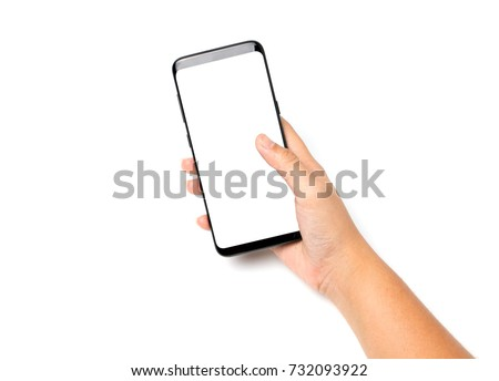 Hand holding cell phone blank on white screen and white background #732093922
