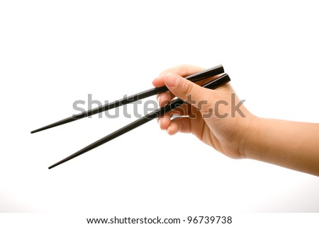 Hand holding chopsticks in the open position over white