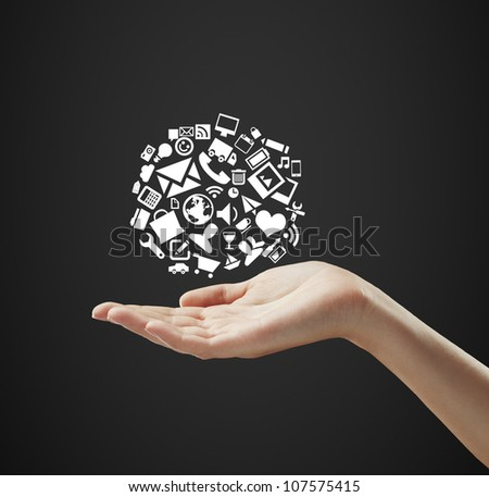hand holding cloud icons on a black background