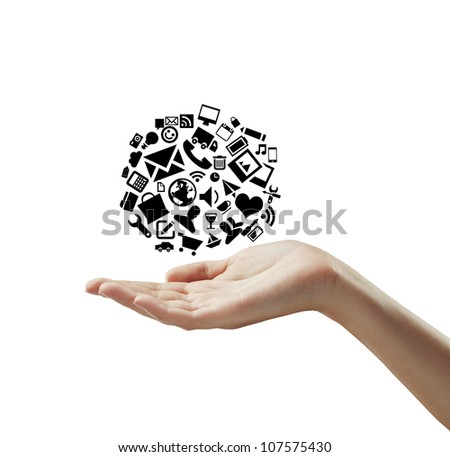 hand holding cloud icons on a white background
