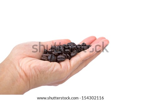 Hand holding coffee beans isolated on white  background